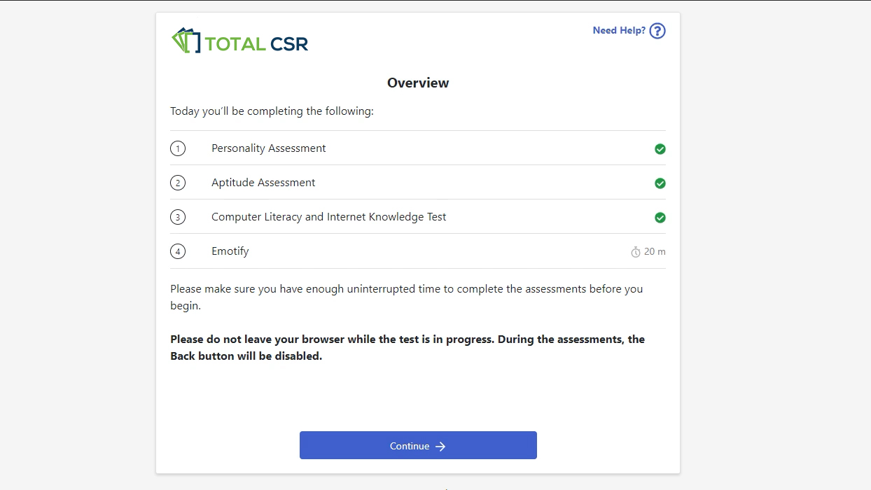Total CSR Personality Assessments for New Hires and Employees
